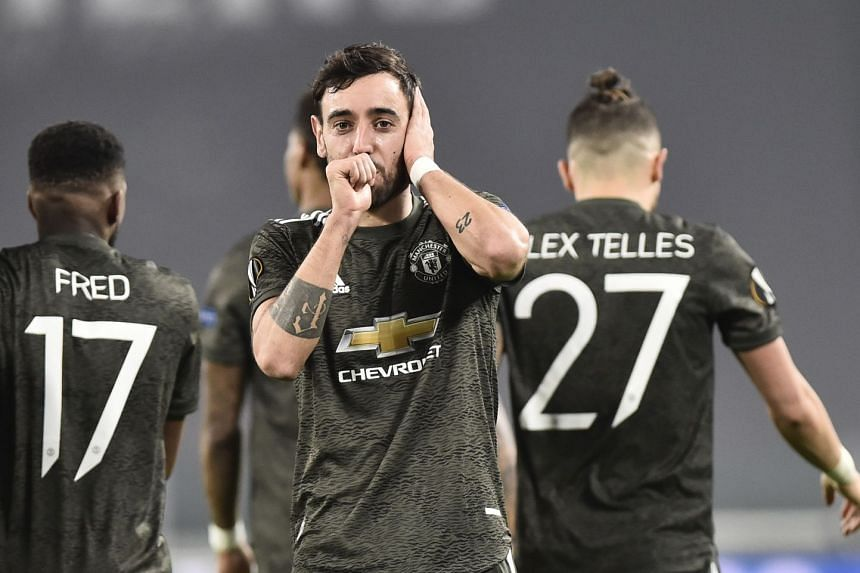 Fernandes celebrates scoring United's second goal.