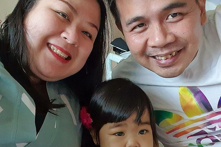 Ms Vicky Cheng and Mr Roger Wong with their 17-month-old daughter Raenelle, who was diagnosed with biliary atresia soon after birth and needed a liver transplant. Ms Cheng made an urgent plea for help on Facebook, and the National University Hospital