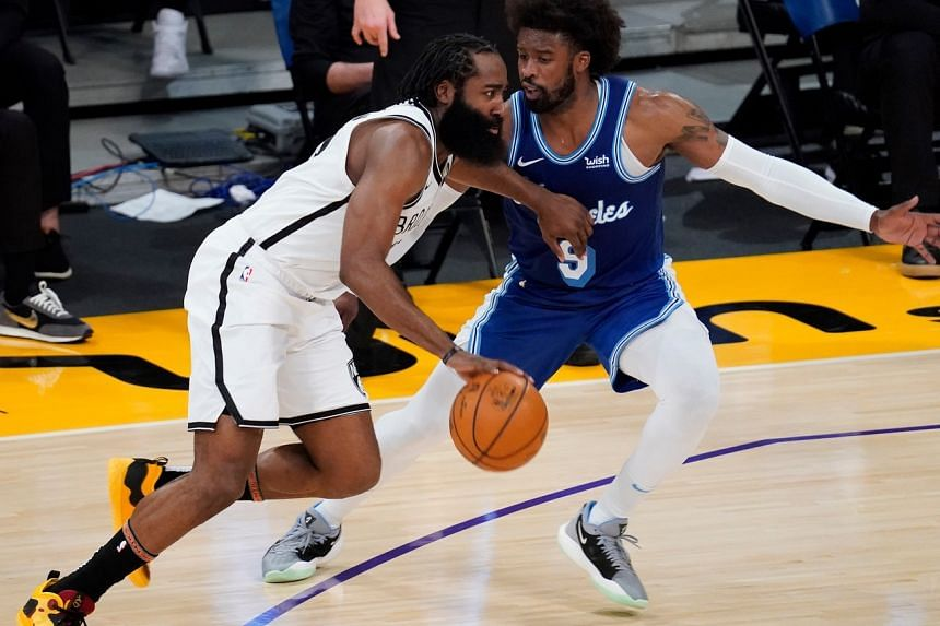 James Harden (left) scored 23 points for the Brooklyn Nets.