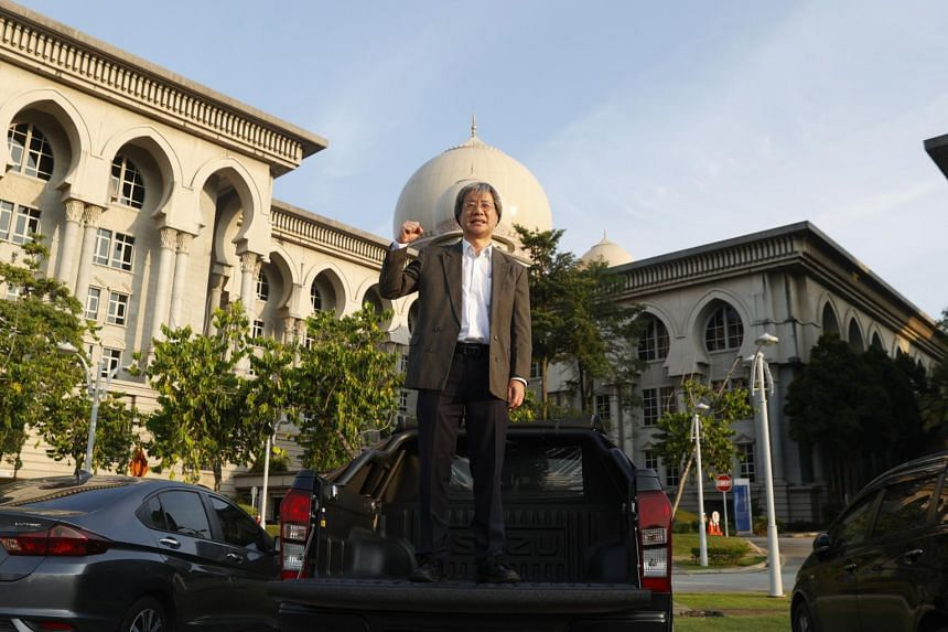 Malaysiakini editor-in-chief Steven Gan outside the Palace of Justice in Malaysia on Feb 19, 2021.