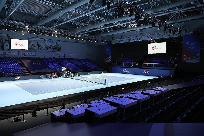 Strict safety protocols are in place for the Singapore Tennis Open, including sanitising the OCBC Arena (above) before and after each session. Common areas are cleaned hourly.
