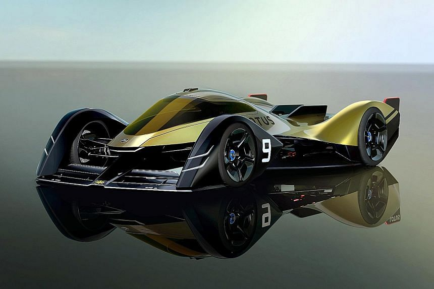 The wild-looking E-R9 (above) is Lotus' electric racer for 2030.