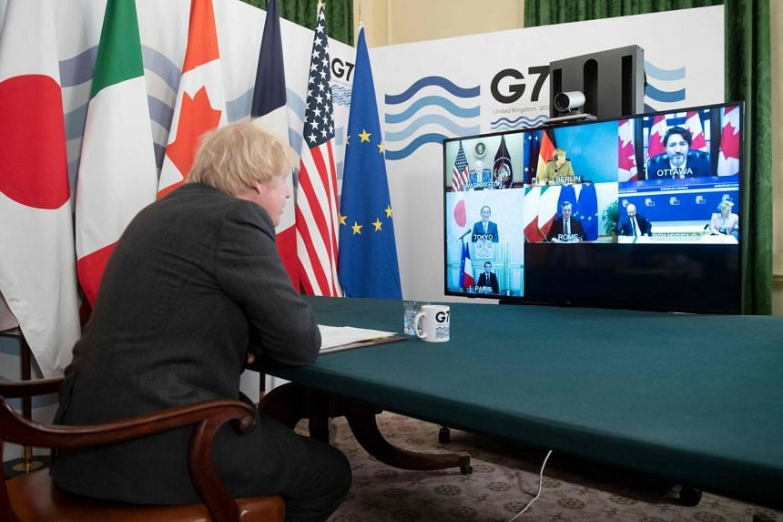 Britain's Prime Minister Boris Johnson hosts a virtual meeting of G-7 leaders in London.
