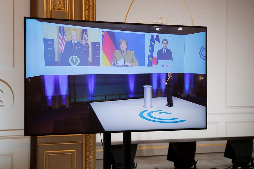 (From left) US President Joe Biden in a video conference with German Chancellor Angela Merkel and French President Emmanuel Macron.