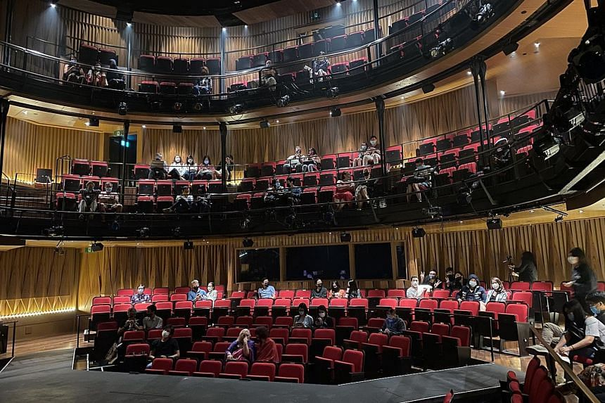 Even though theatres are now open, shows are still being run at a loss due to safe distancing rules. Wild Rice @ Funan (left), for one, has been running productions at less than 25 per cent capacity. PHOTO: WILD RICE