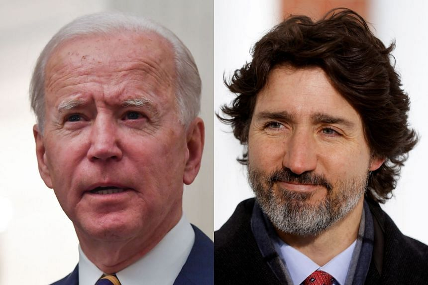 """The virtual meeting will allow Biden (left) and Trudeau """"to review joint efforts"""" on matters such as Covid-19 and climate change."""