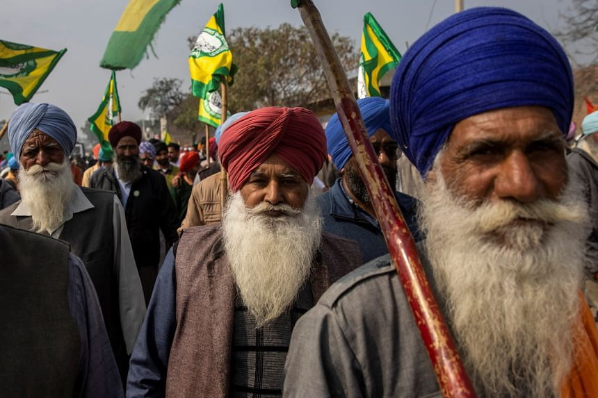 Farmers and agricultural workers attending a rally in Barnala, Punjab, on Feb 21, 2021.
