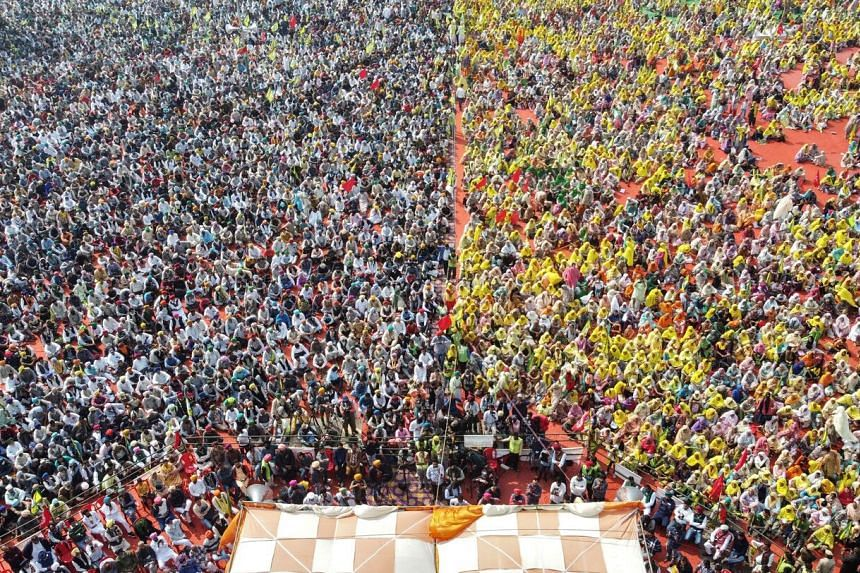 A sea of supporters, including tens of thousands of women, began gathering in Barnala early on Feb 21, 2021.