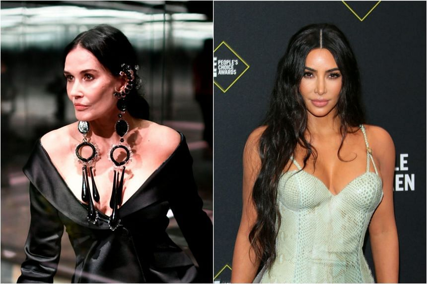 Demi Moore (left) headlines an erotic podcast called Dirty Diana while Kim Kardashian signed a deal with Spotify to develop a show on criminal justice reform.
