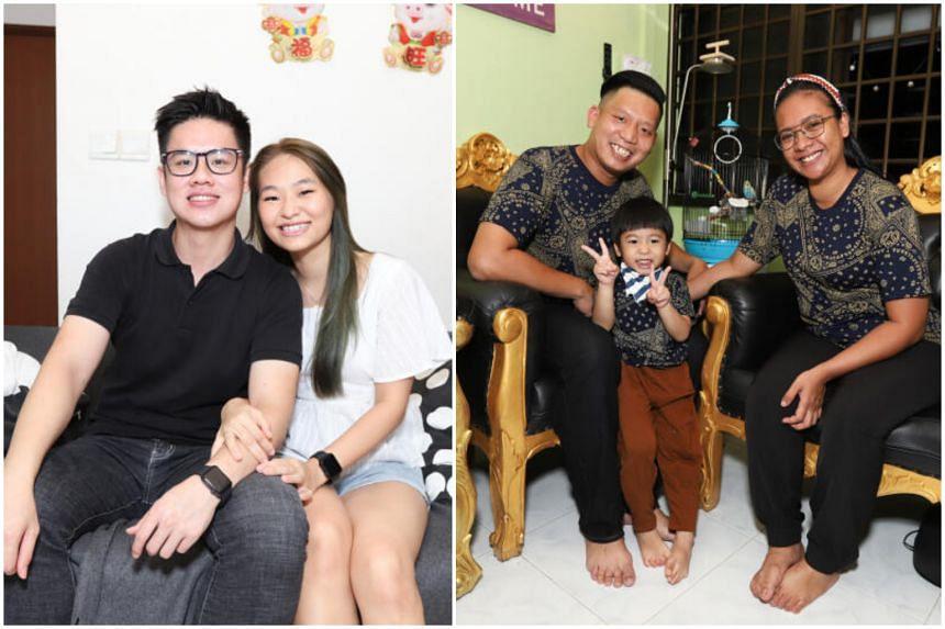 Mr Toh Jin Ann and his girlfriend Jaslin Chong (both left) and Mr Muhammad Azhar and his wife, Madam Nurhayati Zulfikri, with their son, Yafizhan Amsyar.