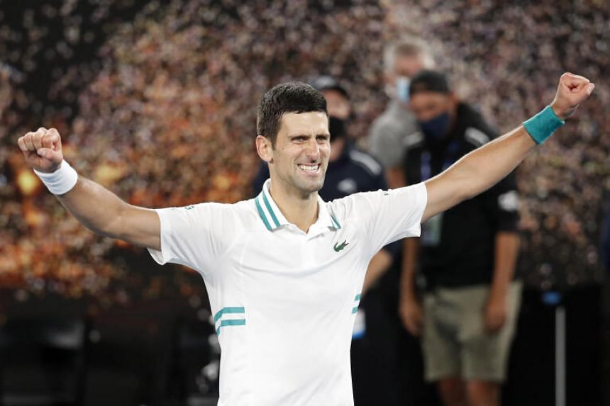 Novak Djokovic celebrating after defeating Daniil Medvedev in the Australian Open final on Feb 21, 2021.