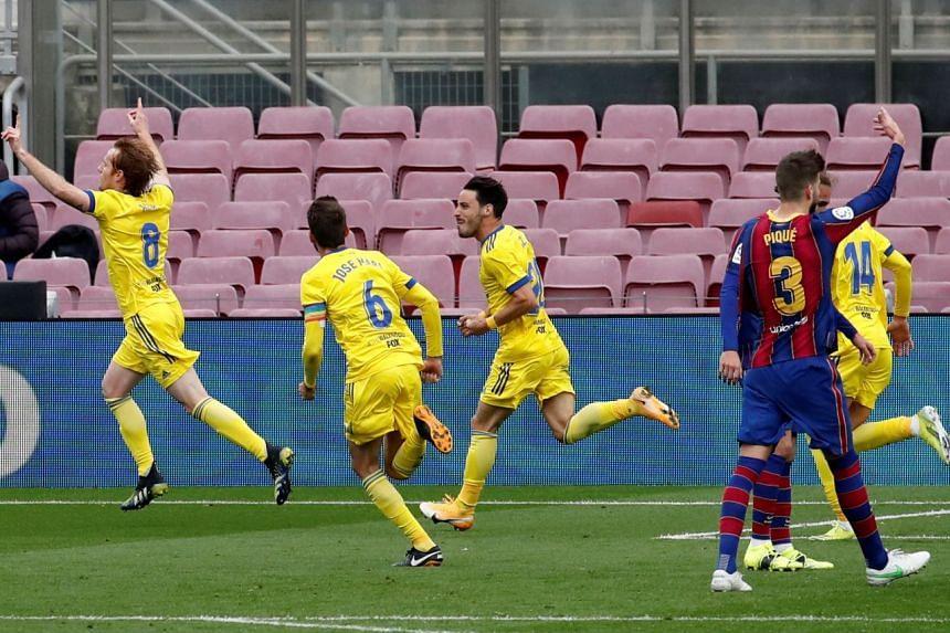 Cadiz's Alex Fernandez reeling away after scoring the equaliser in the 1-1 La Liga draw with Barcelona at the Camp Nou stadium on Feb 21, 2021.