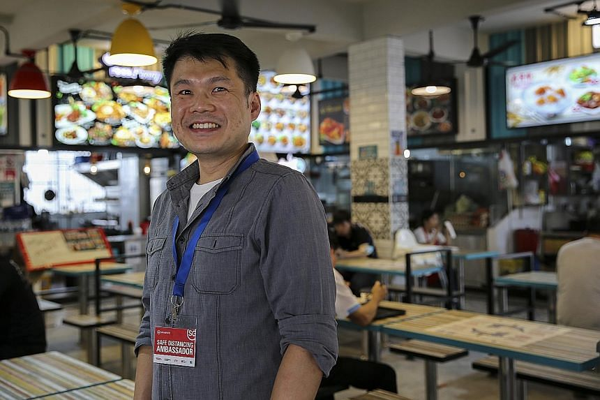 Mr Adrian Goh has been seconded from Hotel Grand Pacific as a safe distancing ambassador since October. He has a regular circuit that takes him through residential areas and coffee shops in Eunos, Aljunied, Geylang, Paya Lebar and Marine Parade, and