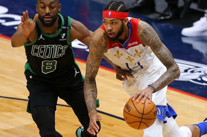 Brandon Ingram of the New Orleans Pelicans scored 33 points during the game against the Boston Celtics on Feb 21, 2021.
