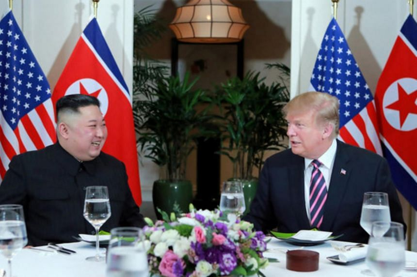 North Korea's leader Kim Jong Un and former US President Donald Trump meet during the second US-North Korea summit in Hanoi.