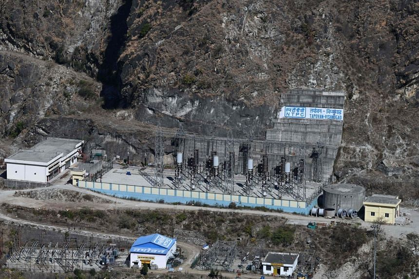 An undamaged part of the Tapovan-Vishnugad power project on the banks of Dhauli Ganga river in Chamoli district of Uttarakhand state, on Feb 11, 2021.