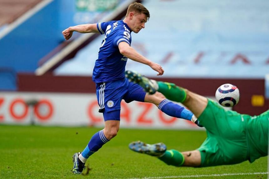 Leicester City's Harvey Barnes shoots to score their second goal during their 2-1 win over Aston Villa at Villa Park on Sunday.