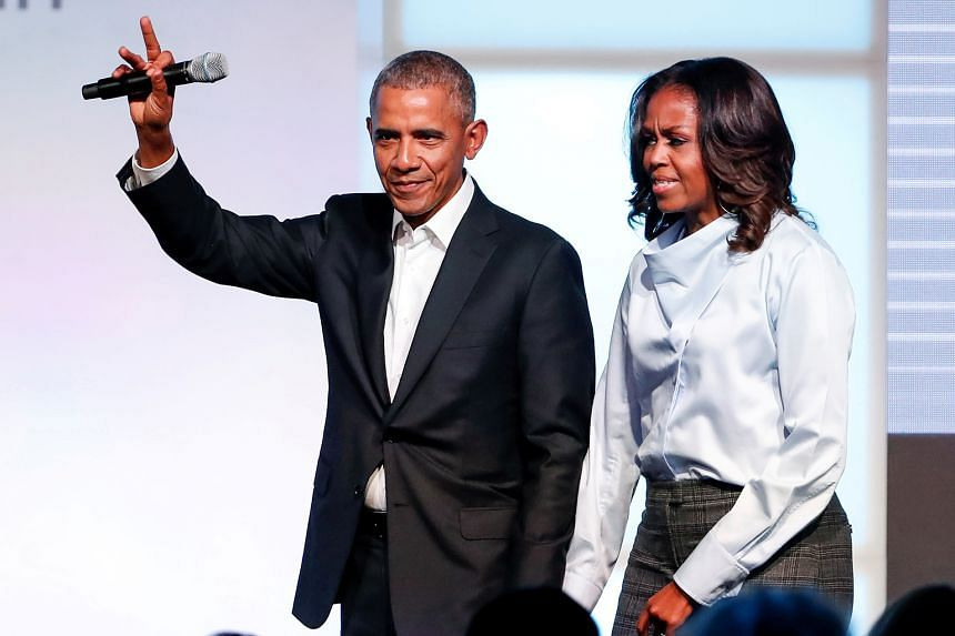 Oscar-winning actor Rami Malek is featured in a QCode podcast, while former United States first lady Michelle Obama (above, with her husband Barack Obama) talks about personal issues in her podcasts.