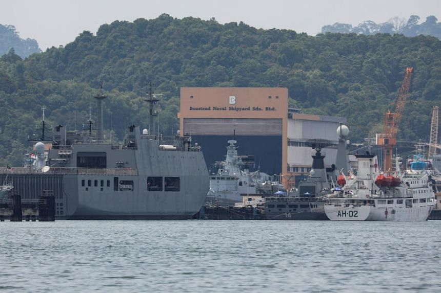 Myanmar Navy vessels, which will be used to deport Myanmar nationals from Malaysia, at a jetty in Lumut on Feb 22, 2021.