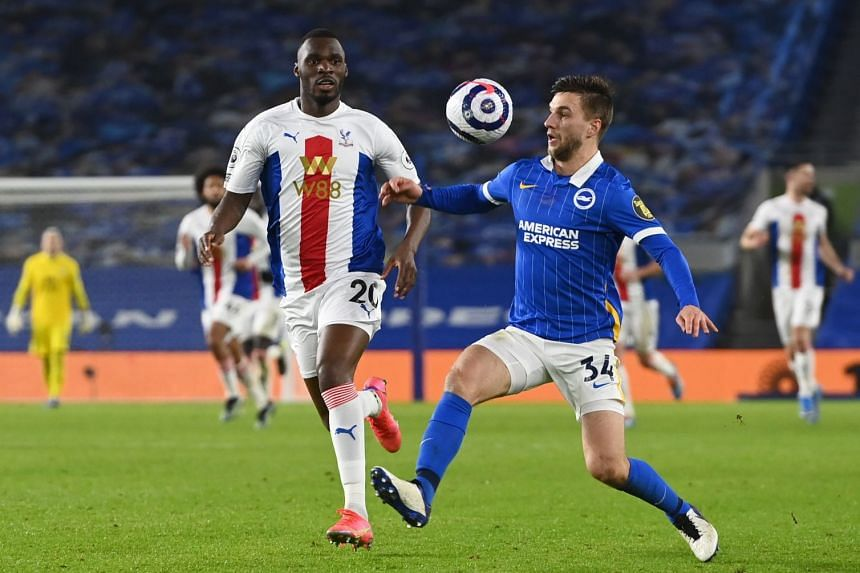 Brighton & Hove Albion's Joel Veltman in action with Crystal Palace's Christian Benteke, on Feb 22, 2021.
