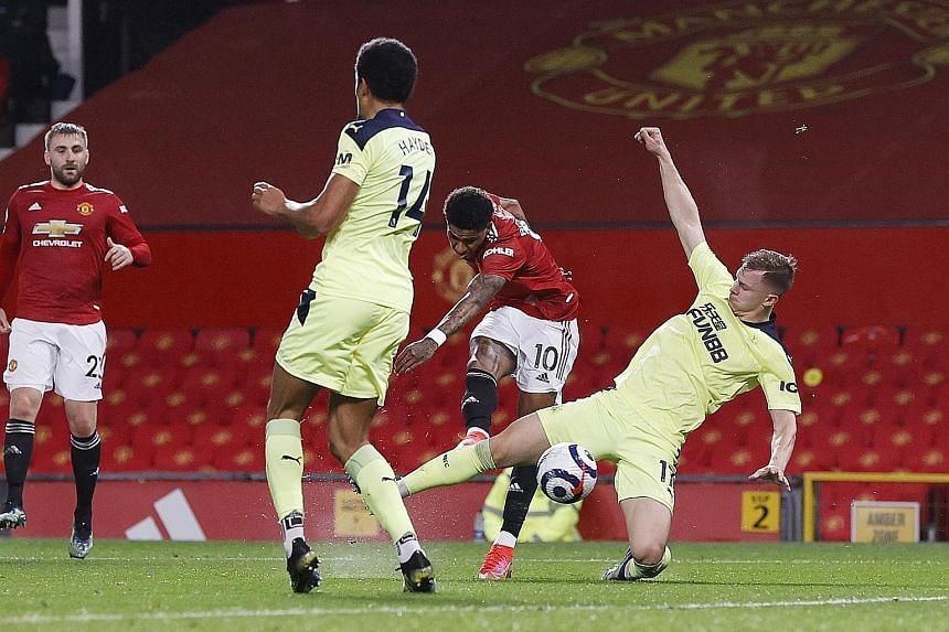 Manchester United's Marcus Rashford opening the scoring against Newcastle on Sunday. It was the England forward's ninth league goal of the season. The 3-1 win moved the Red Devils back to second in the table.
