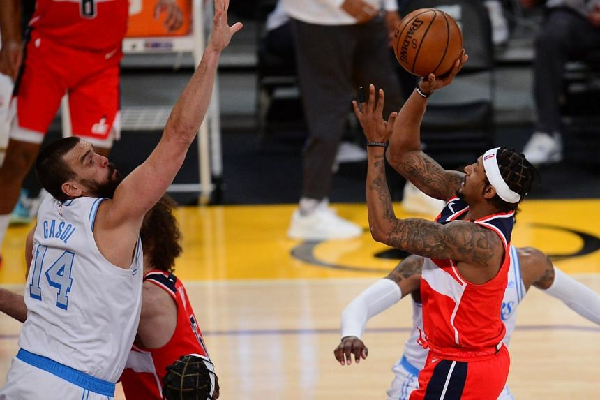 Washington Wizards playing against Los Angeles Lakers during the second half at Staples Center on Feb 22, 2021.