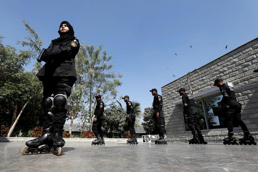 The roller-blading police are expected to begin officially next month.