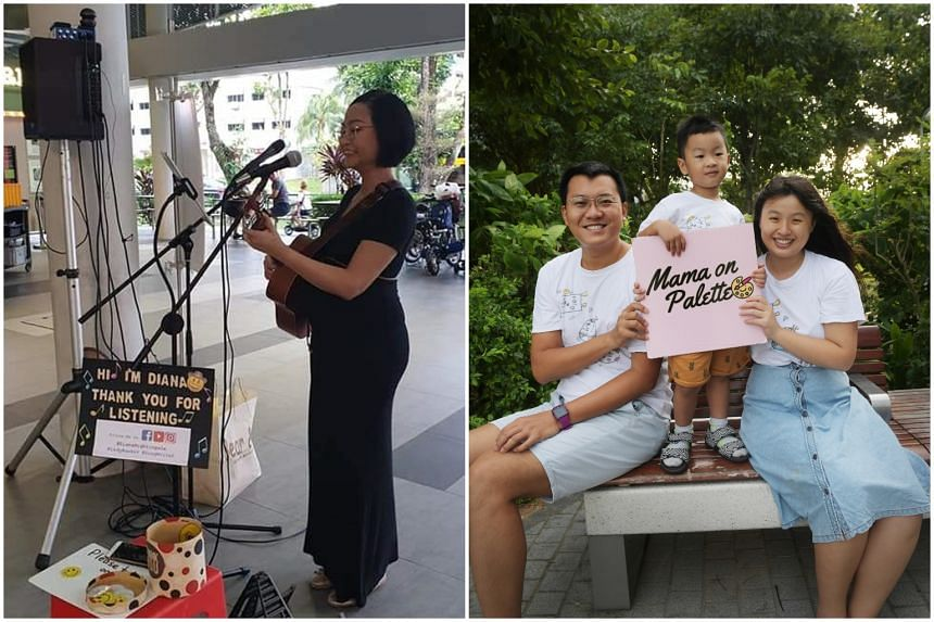 Ms Nurdiana Saad (left) drew strength from singing when she fell pregnant while Ms Alice Yu Yuebo (right) found purpose in art.
