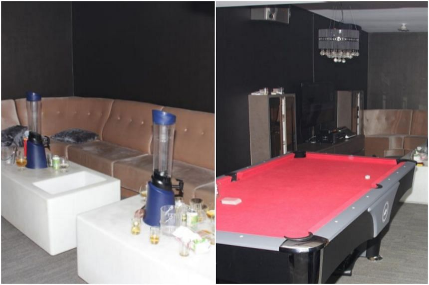 Karaoke equipment and alcohol supplies were seized by the police from both locations.