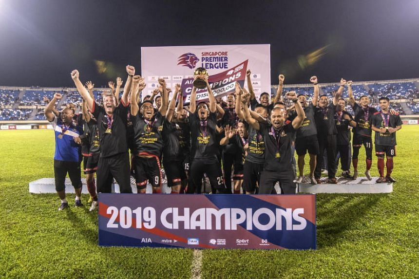 Brunei DPMM players celebrating at the Hassanal Bolkiah National Stadium after being crowned Singapore Premier League champions in 2019.