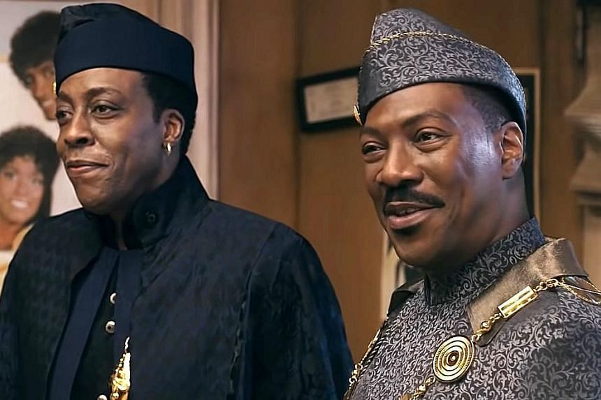 Arsenio Hall (far left) and Eddie Murphy (left) reprise their roles in Coming 2 America.