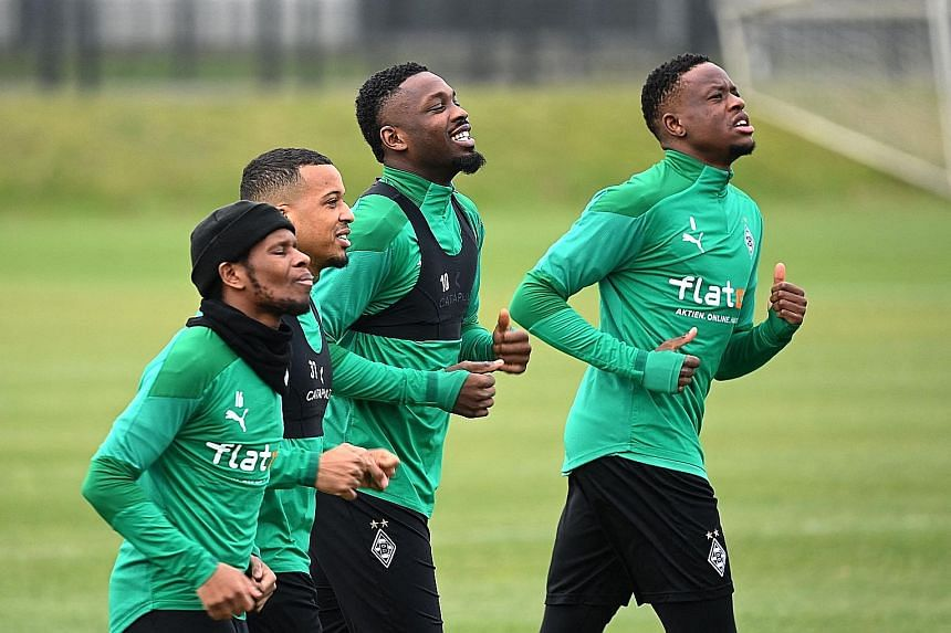 Gladbach forward Ibrahima Traore (from far left) and his teammates Alassane Plea, Marcus Thuram and Denis Zakaria will have their work cut out for them against Manchester City's backline that conceded just one goal in the Champions League group stage