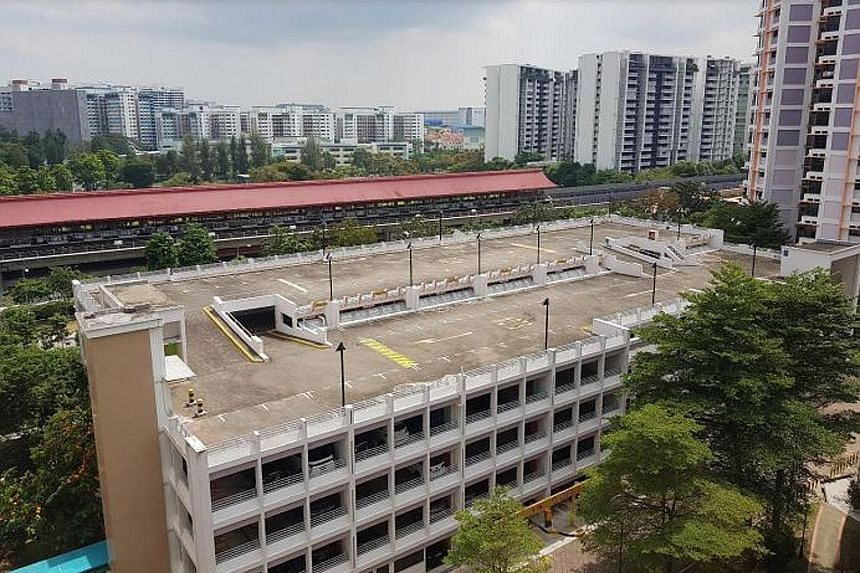 The rooftops of Housing Board multi-storey carparks at Block 505A Jelapang Road (left) and Block 517B Jurong West Street 52 (right) are among the seven sites launched by the Singapore Food Agency yesterday that are intended for farming vegetables and
