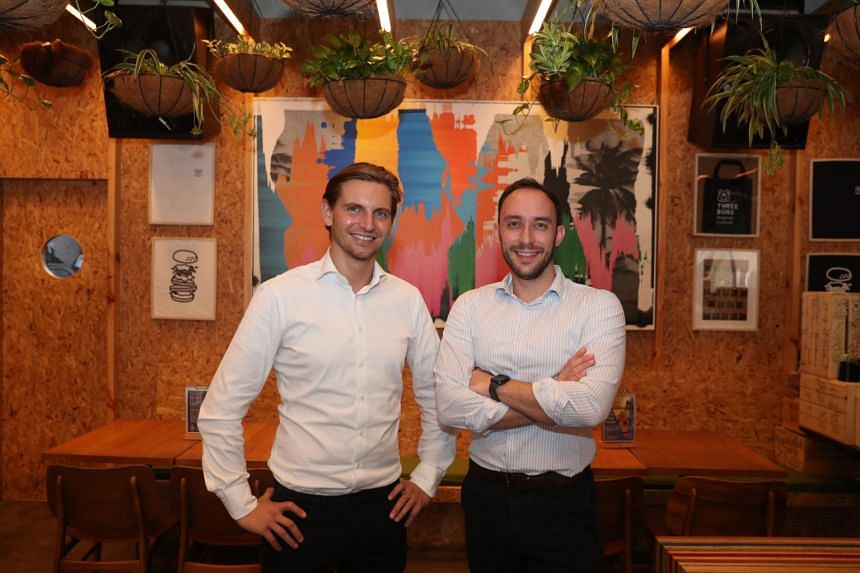 Founders of foodtech start-up Next Gen, Mr Timo Recker (left) and Andre Menezes at Three Buns Quayside.