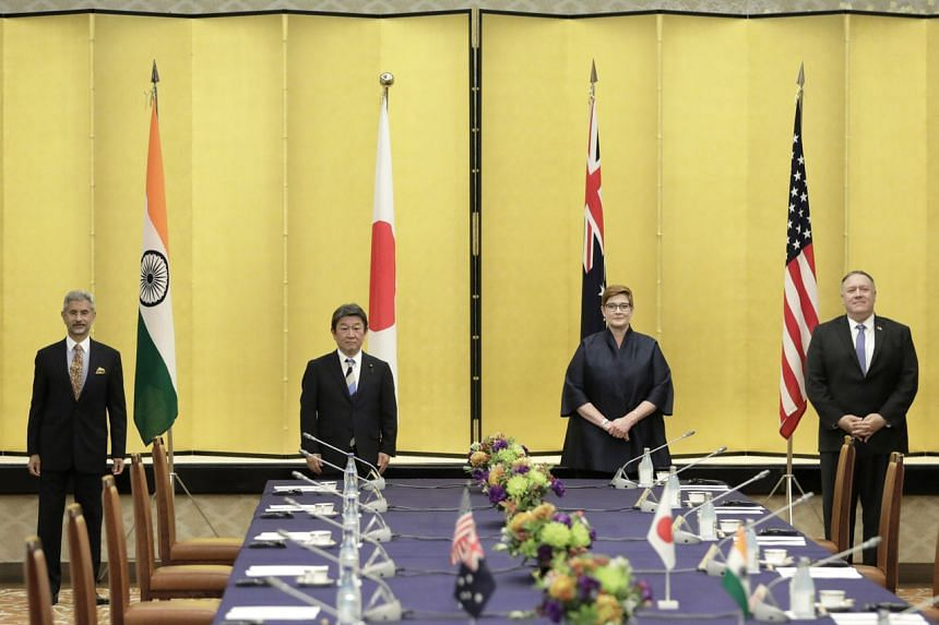 (From left) India's foreign minister Subrahmanyam Jaishankar, Japan's foreign ministerToshimitsu Motegi, Australia's foreign minister Marise Payne and US Secretary of State Michael Pompeo prior to the Quadrilateral Security Dialogue ministerial meeti