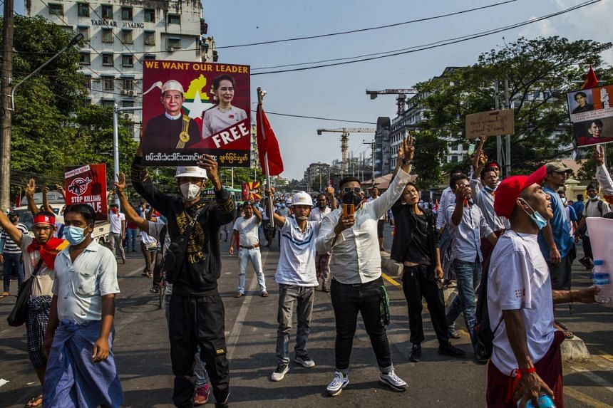 People protesting the recent military coup in Yangon, Myanmar, on Feb 22, 2021.