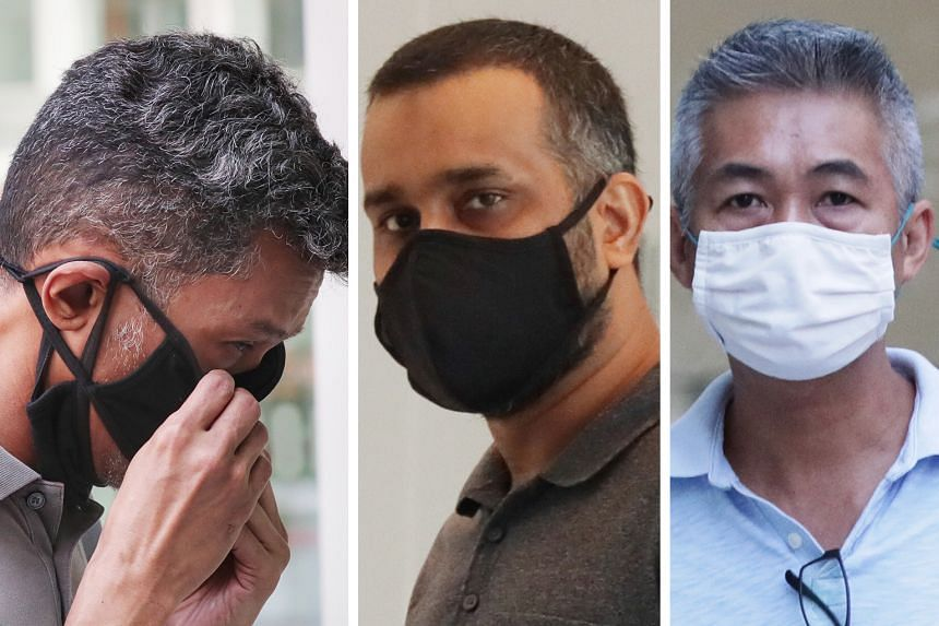 (From left) Juandi Pungot, Muzaffar Ali Khan Muhamad Akram and Richard Goh Chee Keong were charged with bribing inspectors of vessels that Shell supplied fuel to.