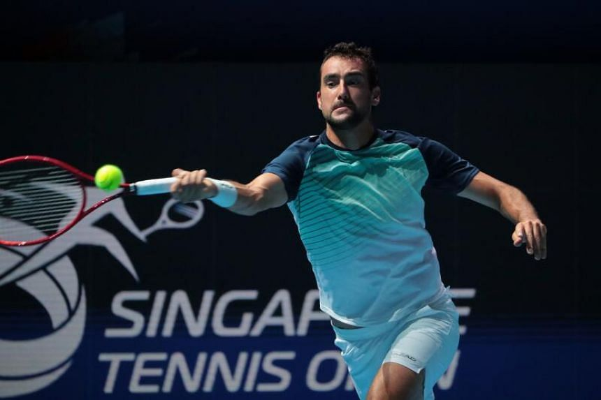 Croatia's Marin Cilic competes against Japan's Taro Daniel at the ATP Singapore Tennis Open held at the OCBC Arena, on Feb 24, 2021.