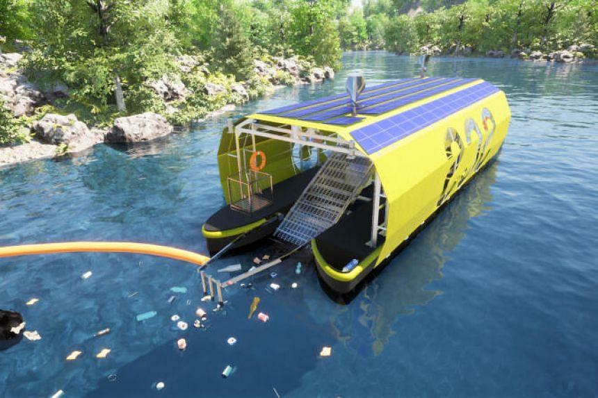 A digital model of Seven Clean Seas' vessel-like river clean-up system.