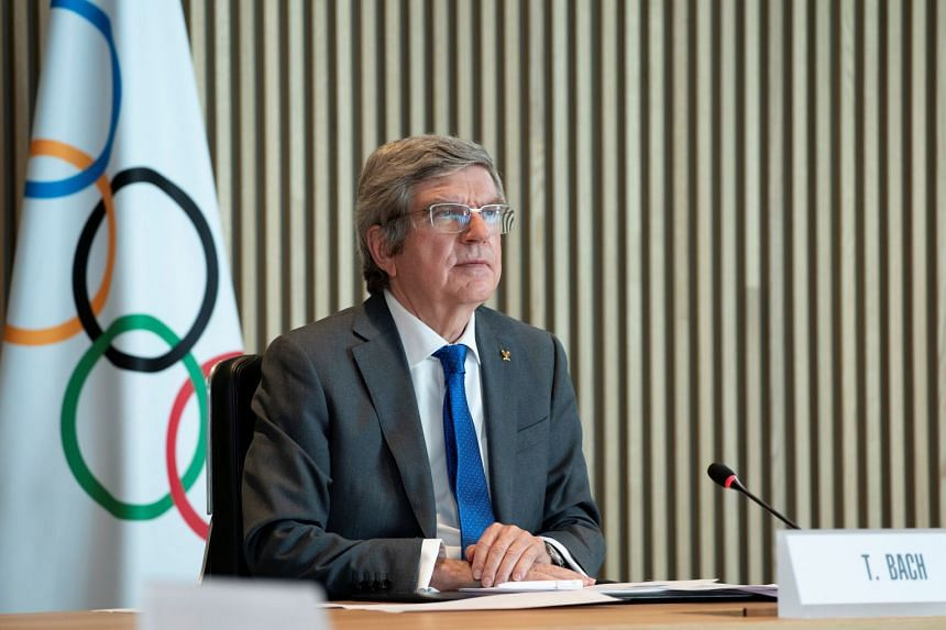 IOC president Thomas Bach welcomes participants to the virtual meeting in Lausanne, Switzerland, on Feb 24, 2021.