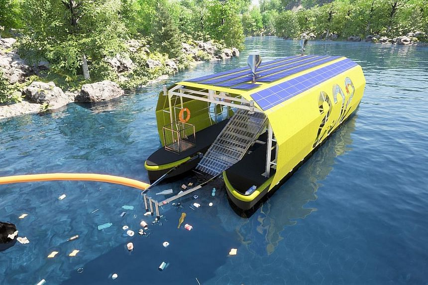 Seven Clean Seas' vessel-like machine is powered by solar and wind energy and can hold about 2,000kg of trash.