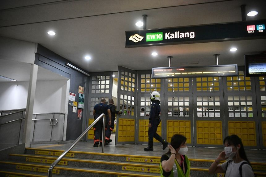 SCDF personnel at Kallang MRT station on Feb 25, 2021.