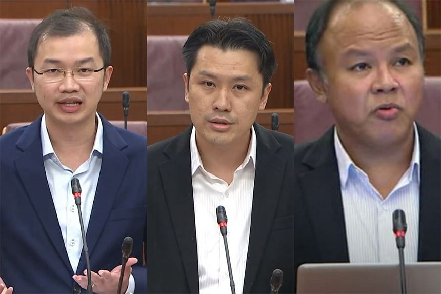 """From left: WP MP Louis Chua (Sengkang GRC) asked if the plan to raise the GST was truly justified. PAP MP Shawn Huang (Jurong GRC) said that whenever the GST is raised, """"the lower and middle-income groups will be buffered"""". WP MP Faisal Manap (Aljuni"""