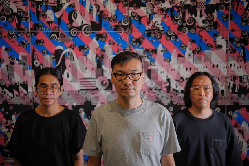 (From left) Alvin Tan, Jackson Tan and William Chan at the SEA Focus art fair in Alexandra Distripark.