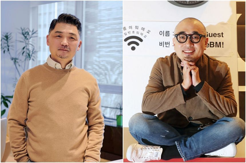 Mr Kim Beom-su, the founder of South Korea's biggest messaging app KakaoTalk, and Mr Kim Bong-jin of food-delivery app Woowa Brothers.