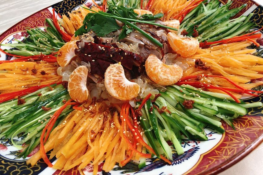 The duck salad with mandarin orange uses up remaining festive fruit to create a simple, home-made lohei of sorts.