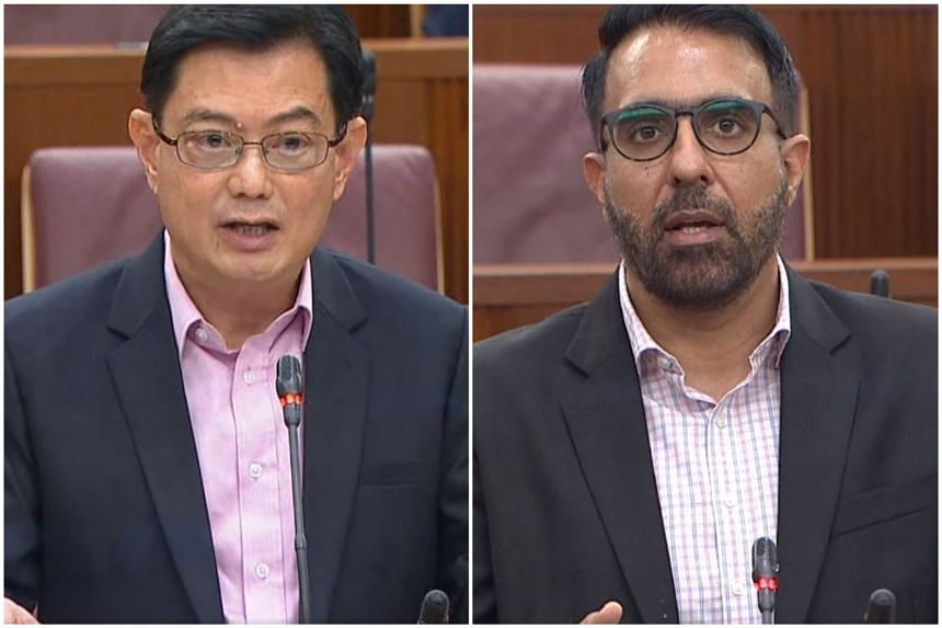 Deputy Prime Minister Heng Swee Keat (left) and Leader of the Opposition Pritam Singh in Parliament on Feb 26, 2021.