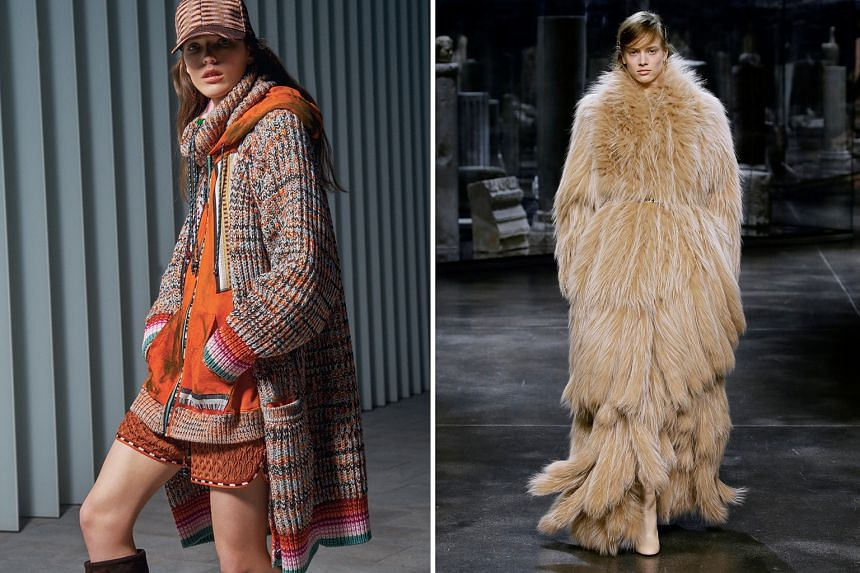 A creation from the Missoni fall/winter 2021/2022 women's collection (above) and another from Fendi (right) during live-streamed shows at Milan Fashion Week, which has gone virtual this season.