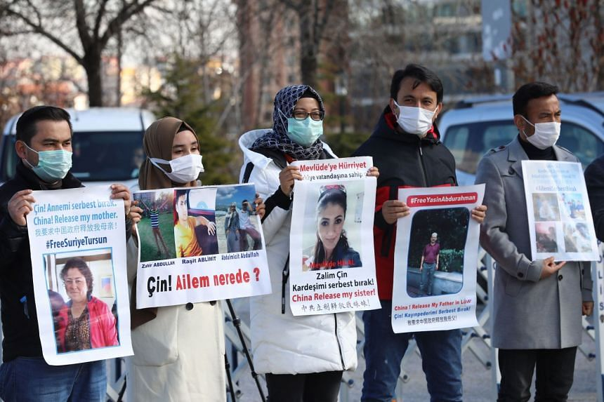 Uighurs living in Turkey demonstrate for the release of their relatives detained in China on Feb 5, 2021 in front of the Chinese Embassy in Ankara.