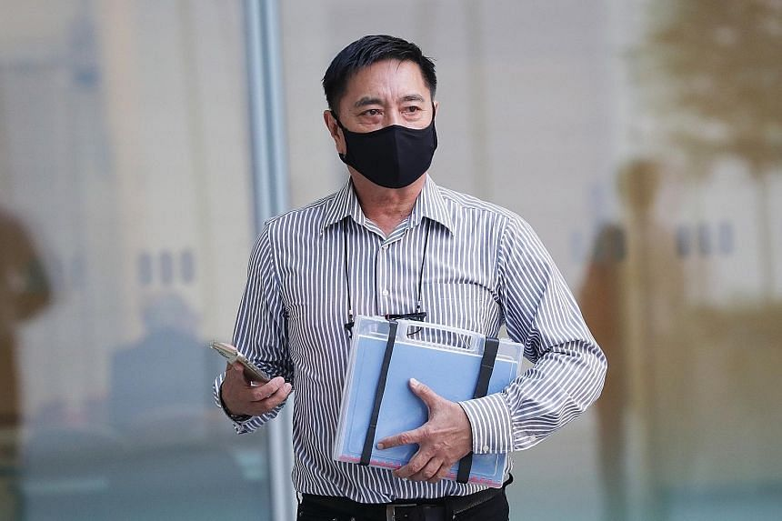 Former actor Ng Aik Leong, better known as Huang Yiliang, arriving at the State Courts yesterday. He was found guilty last month of assaulting a Bangladeshi worker with a metal scraper in 2018.